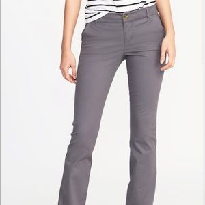 Old Navy Mid-Rise Boot Cut Khakis (gray)